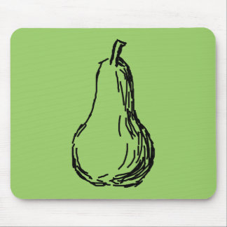 Pear Sketch. Line illustration in Black. Mousepads