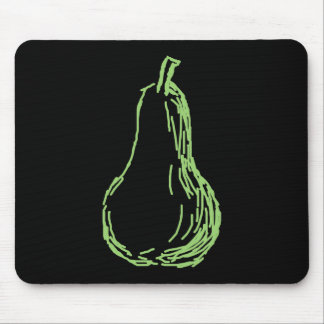 Pear Sketch. Line illustration in green. Mousepad