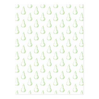 Pear Sketch. Pattern in green. Postcard