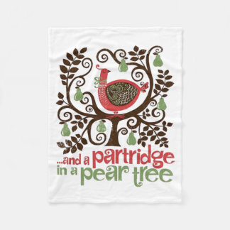 Pear Tree Christmas Fleece Blanket