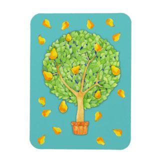 "Pear Tree Pears teal Magnet 3""x4"""