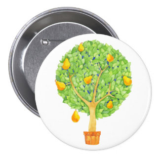 Pear Tree Round Button