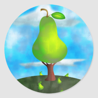 Pear Tree Round Sticker