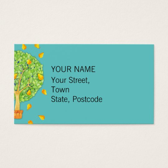 Pear Tree teal Business Card