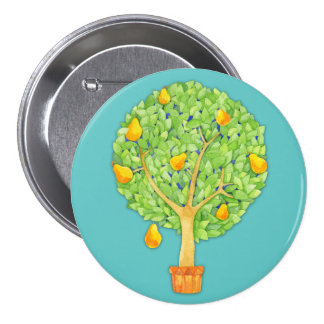 Pear Tree teal Round Button