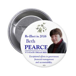 Pearce for VT State Treasurer 2016 button