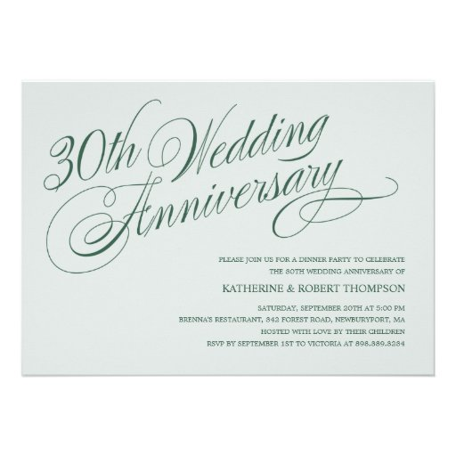 30th Wedding Anniversary Invitations: Pearl 30th Wedding Anniversary Invitations