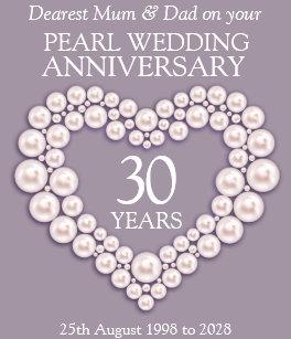 Pearl 30th Wedding Anniversary Mum And Dad Card