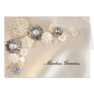 Pearl and Diamond Buttons Spanish Thank You Note Greeting Card