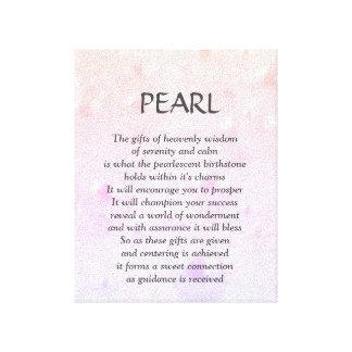 Pearl birthstone - June poem art canvas