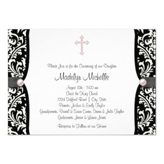 Pearl Cross Pink Black Damask Christening Card