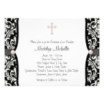 Pearl Cross Pink Black Damask Christening Personalized Invites