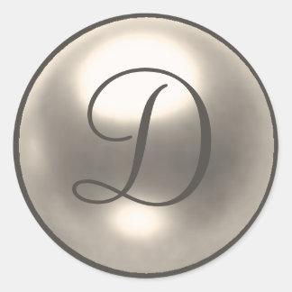 Pearl D monogram wedding seal Round Sticker