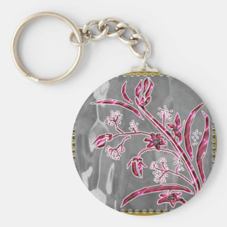 pearl deco basic round button key ring