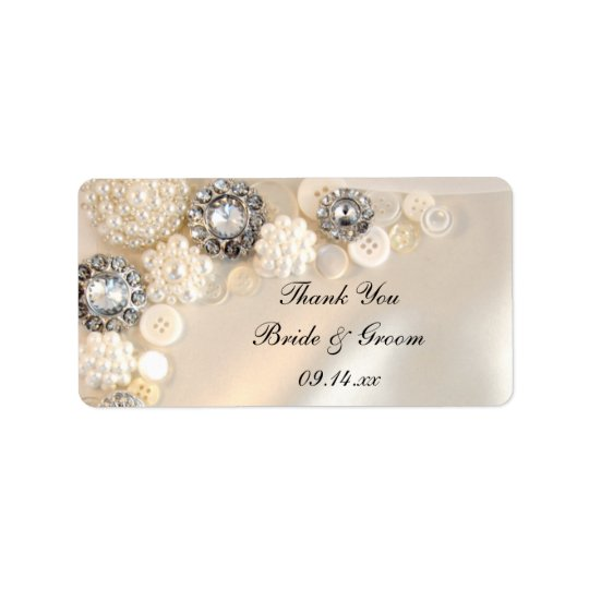 Pearl Diamond Buttons Wedding Thank You Favour Label