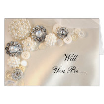 Pearl Diamonds Buttons Will You Be My Bridesmaid Cards