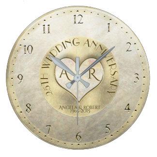 Pearl Gold Heart Monogram Wedding Anniversary Large Clock