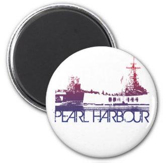 Pearl Harbour Skyline Design 6 Cm Round Magnet