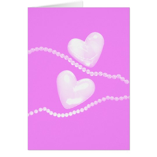 Pearl Hearts on Pink Card