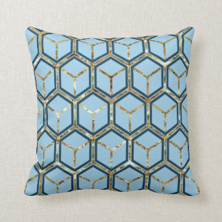 """Pearl"" Inlay Blue Honeycomb Pattern Reversible Cushions"