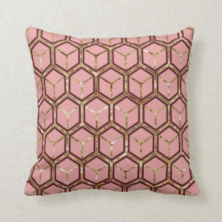 """Pearl"" Inlay Red Honeycomb Pattern Reversible Throw Cushions"