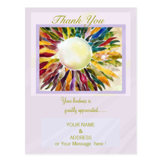 """""""Pearl Jewelry Leaves"""" Thank You Post Card"""