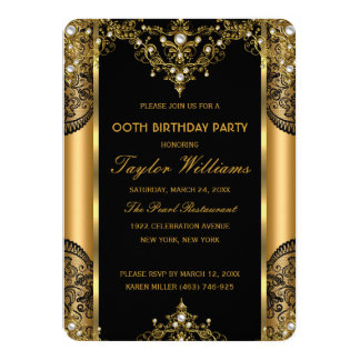 Pearl Lace Gold Black Glamour Birthday Party 2 Card