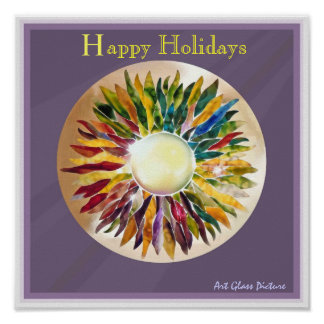 Pearl Leaves Happy Holidays Excellent Poster プリント