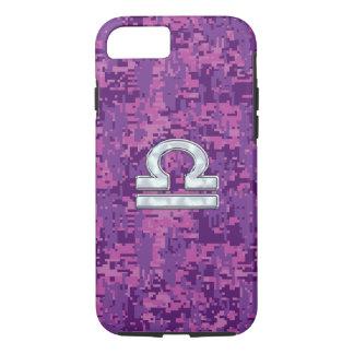 Pearl Libra Zodiac Sign on Fuchsia Digital Camo iPhone 7 Case