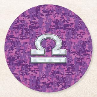 Pearl Libra Zodiac Sign on Fuchsia Digital Camo Round Paper Coaster