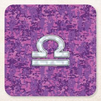Pearl Libra Zodiac Sign on Fuchsia Digital Camo Square Paper Coaster