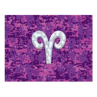 Pearl Like Aries Zodiac Sign on Digital Camo Postcard