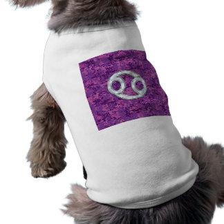 Pearl Like Cancer Zodiac Sign on Digital Camo Sleeveless Dog Shirt