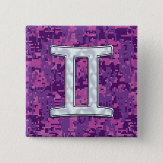 Pearl Like Gemini Zodiac Symbol Digital Camouflage 15 Cm Square Badge