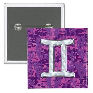 Pearl Like Gemini Zodiac Symbol Digital Camouflage 15 Cm Square Badge
