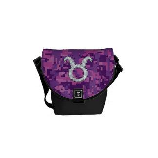 Pearl Like Taurus Zodiac Sign on Digital Camo Courier Bags