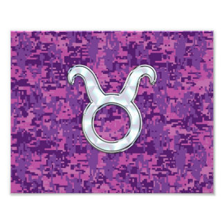 Pearl Like Taurus Zodiac Sign on Digital Camo Photo Print