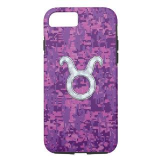 Pearl Like Taurus Zodiac Sign on Pink Digital Camo iPhone 7 Case
