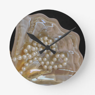 pearl necklace round clock