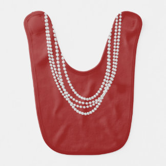 Pearl Necklaces on Girly Christmas Baby Bib