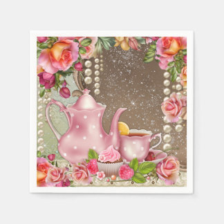 Pearl Rose Tea Party Bridal Shower Paper Napkins