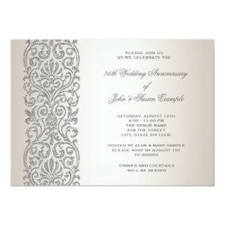 Pearl Silver Border 25th Anniversary Party 11 Cm X 16 Cm Invitation Card