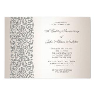 Pearl Silver Border 25th Anniversary Party 13 Cm X 18 Cm Invitation Card