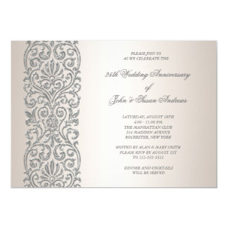 Pearl Silver Border 25th Anniversary Party Card