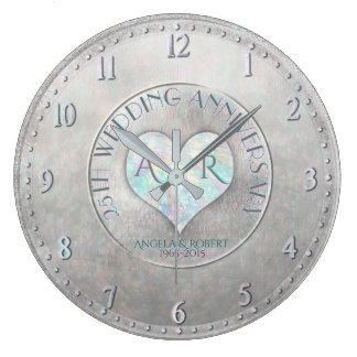 Pearl Silver Heart Monogram Wedding Anniversary Large Clock