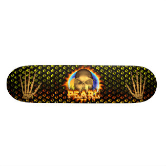 Pearl skull real fire and flames skateboard design