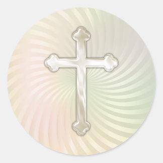 Pearl Twirl Silver Pearl Cross Classic Round Sticker