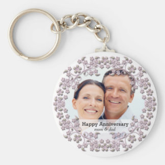 Pearl wedding anniversary with a photo basic round button key ring