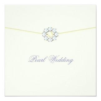 Pearl Wedding Anniversary with Diamonds & Pearls 13 Cm X 13 Cm Square Invitation Card
