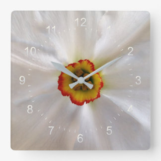 pearl white narcissus square wall clock